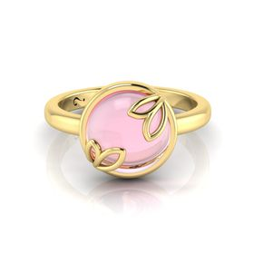 Why Jewellery Rose Quartz Ring - Yellow Gold Plated