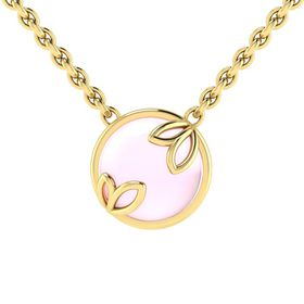 Why Jewellery Rose Quartz Pendant and Chain - Yellow Gold Plated