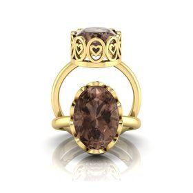 Why Jewellery Smokey Quartz Ring - Yellow Gold Plated