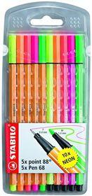 Stabilo Point 88 Fineliners & Pen 68 Fibre-Tip Pens - Assorted Neon Colours (Wallet of 10)