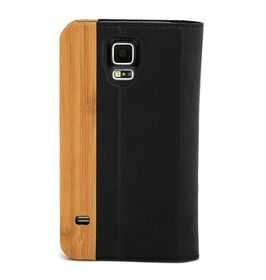 Houdt Samsung S5 Cover - Leather And Bamboo Flip