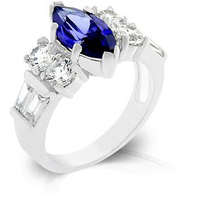 Miss Jewels 2ct(cent) Amethyst and Clear Cubic Zirconia Enagagement Style Ring