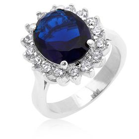 Miss Jewels 5.48ct Simulated Sapphire and Diamond Royal Engagement Ring