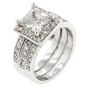 Miss Jewels 4.8ctw Princess Cut Simulated Diamond Costume Bridal Set