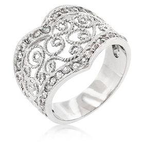 Miss Jewels Silver Filigree Dress Ring