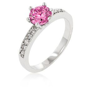 Miss Jewels 1.00ct Pink Cubic Zirconia Solitiare Engagement Style Ring