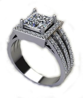 Miss Jewels CD Designer Jewelry 3.16ctw Cubic Zirconia Dress Ring in 925 Sterling Silver
