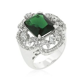 Green and Clear Cubic Zirconia Costume Dress Ring