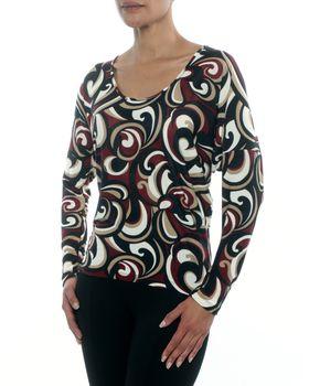 Slick Trend Styled Top in Bordeaux Swirl Print