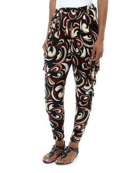 Slick Christa Side Drape Pants in Bordeaux Swirl Print