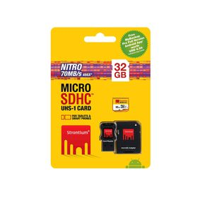 Strontium 32GB Nitro Micro SDHC 466X UHS-1 Card with Adaptor