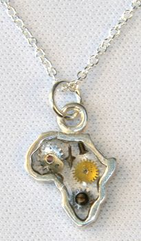 Coeval Small Africa Frame Pendant & Antique Watch Parts Set In Resin - Sterling Silver
