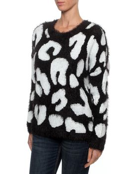 All About Eve Women's Big Jumper in Black and White Leopard