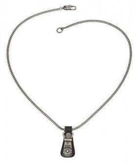 Guess Men's Zipper Pendant Necklace - Silver & Black