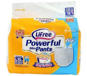 Lifree - Adult Unisex Diaper Pants Size L - 10Pc