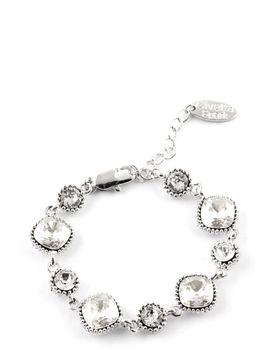 Cushion-Cut Swarovski Crystal Bracelet In Sliver Shade - Silver Swarovski