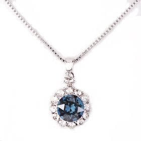 Civetta Spark Brilliance Pendent - Made With Swarovksi Crystal In Montana & Sterling Silver Chain