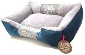 Dog's Life - Waterproof Modern Swirl Winter Bed - Blue - Small