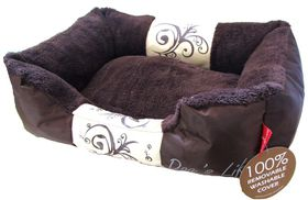 Dog's Life - Waterproof Modern Swirl Winter Bed - Brown - Small