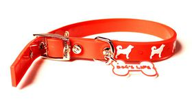 Dog's Life - Non-Toxic PVC LOVE Dog Collar Orange - Medium