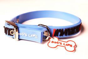 Dog's Life - Non-Toxic PVC Zebra Collar Blue - Small