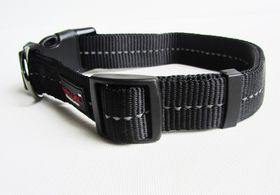 Dog's Life - Reflective Supersoft Webbing Collar - Black - Small