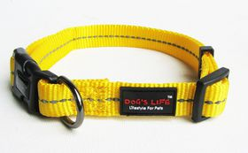 Dog's Life - Reflective Supersoft Webbing Collar - Yellow - Small