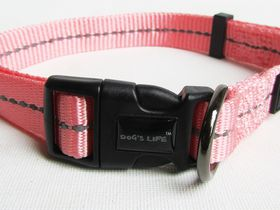 Dog's Life - Reflective Supersoft Webbing Collar - Pink - Medium