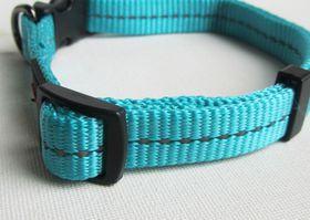 Dog's Life - Reflective Supersoft Webbing Collar - Turquoise - Medium