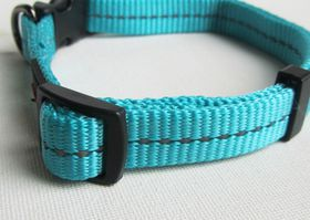 Dogs Life - Reflective Supersoft Webbing Collar - Turquoise - Extra-Large