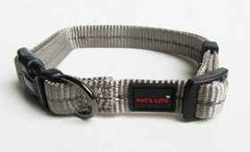 Dog's Life - Reflective Supersoft Webbing Collar - Grey - Small