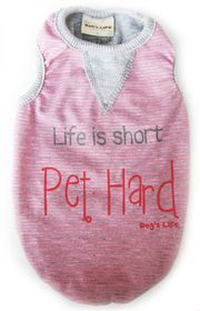 Dog's Life - Stripe Tee - Pink - Large