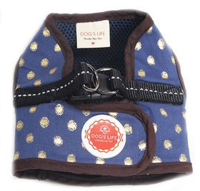 Dog's Life - Polka Dot Harness Vest - Blue - Medium