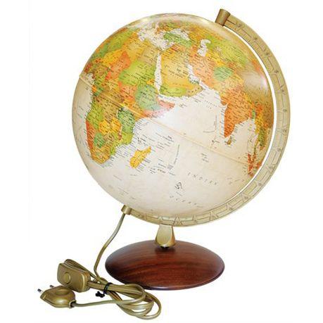 Antiquus 30cm Illuminated World Globe