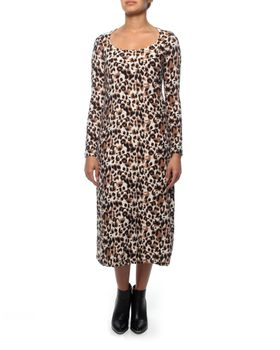 Slick Grace Animal Print Scoop Neck Dress in Multi Colour