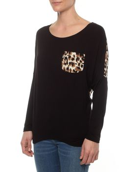 Slick Ella Animal Print Contrast Pocket Top in Black