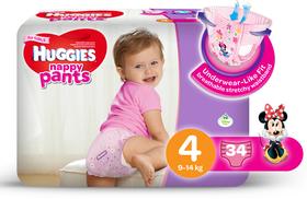 Huggies - Nappy Pants Girl - 34 - Size 4