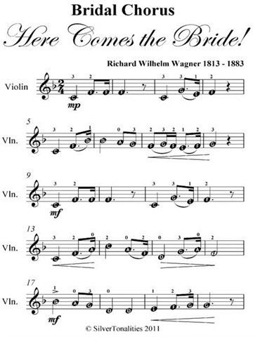 Bridal Chorus Here Comes The Bride Easy Violin Sheet Music Ebook Loading Zoom