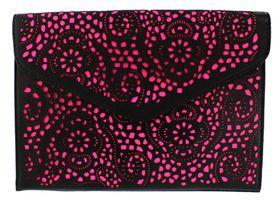 London Hub Fashion Envelope Laser Cut Clutch in Pink