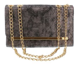 London Hub Fashion Snake Chain Clutch in Pewter