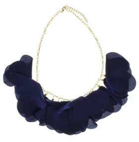 Jewels and Lace Floral Satement Necklace in Navy