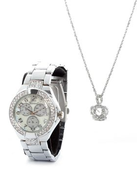 Bad Girl Royalty Watch & Necklace Set in Silver