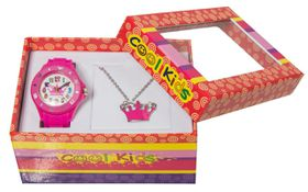 Cool Kids Girls Watch & Tiara Pendant Set in Pink