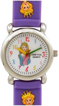Cool Kids Girls Round 3-D Queen Watch in Purple