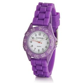 Cool Kids Boys Round Sporty Resin Watch in Purple