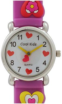 Cool Kids Girls  Round 3-D Hearts Watch in Purple