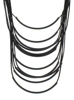 Asch Gabi Multi Strand Statement Necklace in Black