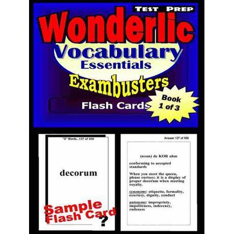 Wonderlic Test Prep Essential Vocabulary,,Exambusters Flash Cards,,Workbook  1 of 3 (eBook)
