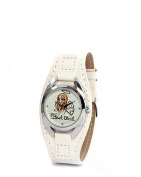 Bad Girl Angel Analogue Watch in White