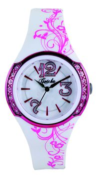 Gotcha Ladies Diamante Analogue Watch in White & Pink